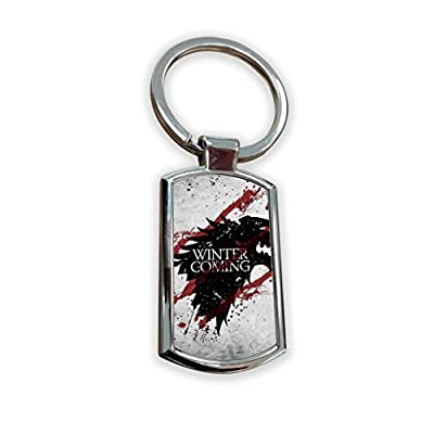 Game Of Thrones Fantasy GOT Series TV Usa Show Keyring Metal charm pendant key ring keychain bag tag fob - winter is coming stark vigil sign grey blood logo