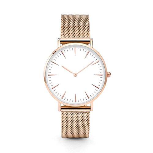 Damen Uhren,Beikoard Neue Luxus Frauen Männer Edelstahl Armbanduhr analog Quartz Armband Armbanduhren (Rose Gold)