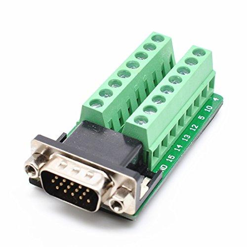 DB15Sub D Buchse Fesselnde VGA3+ 915Pins Port auf 2Reihen Terminal Breakout Board Male-Nut -