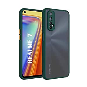 AE Mobile Accessories Back Cover for RealMe 7 Smoke Translucent Shock Proof Smooth Rubberized Matte Hard Back Case Cover (Dark Green)