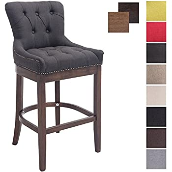 Great CLP Stylish Wooden Bar Stool BUCKINGHAM, Dark Antique Frame, Armchair With  Thick Tweed