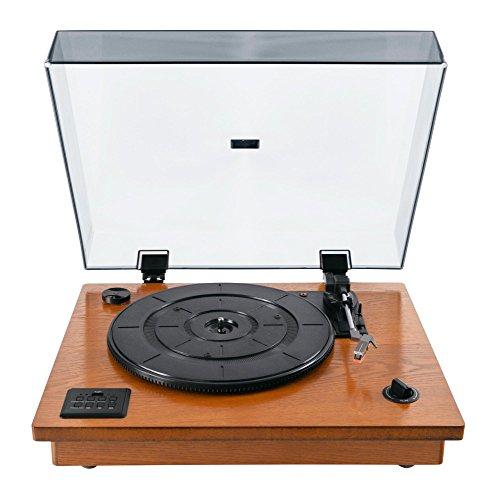 Bennett & Ross TT-9500 Vinylmaster Plattenspieler (Riemenantrieb, Holz-Chassis, USB-Port, MP3-Wiedergabe, Aufnahme von LP auf USB, Bluetooth-Empfänger, eingebaute Lautsprecher, inkl. Aux-Eingang, Line Out und Kopfhörerausgang) - Plattenspieler Holz Vinyl