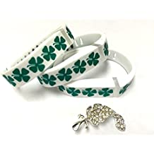 3pcs Large L White with Green Irish Clover Lucky Bands for Fitbit Flex Only St. Patrics Day Good Luck Clovers /No tracker/ Wireless Activity Bracelet Sport Wristband Fit Bit Flex Bracelet Sport Arm Band Armband + Nice Crystals Feather Brooch