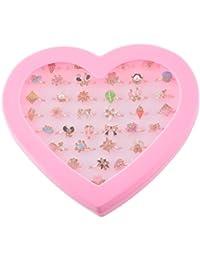 MJARTORIA Bagues Ensemble Anneau Ring Forme Coeur Papillon Fleur Animal Mignon Strass Email Reglable pour Fille Enfant Lot de 36pcs