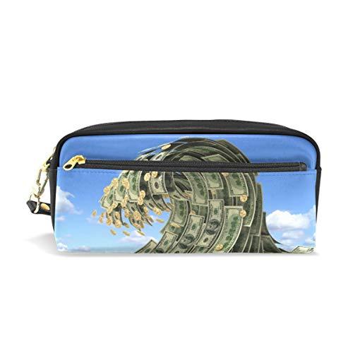 Ahomy Dollars Wave Over Blue Sky Federmäppchen für Mädchen und Jungen, Stiftebeutel Schreibwaren Make-up-Tasche Geldbörse große Kapazität wasserdicht für Frauen