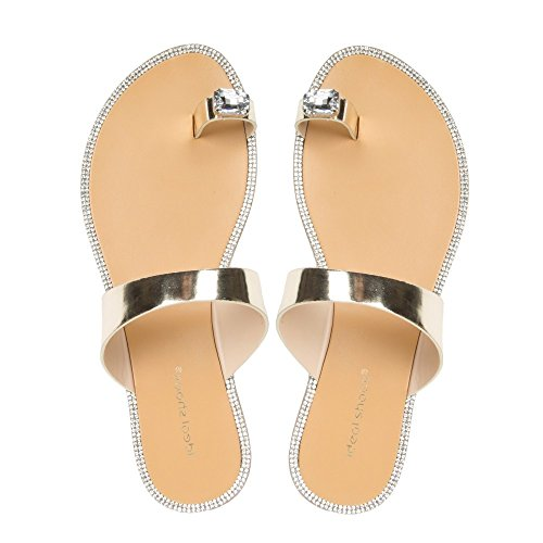 Ideal Shoes–Infradito metallizzato con inserto Gioiello e strass Jamila Oro