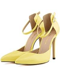 MEI&S Women's Bout Rond Talon Haut Bloc Bouche Peu Profonde Chaussures Prom Jaune,Pompes,40