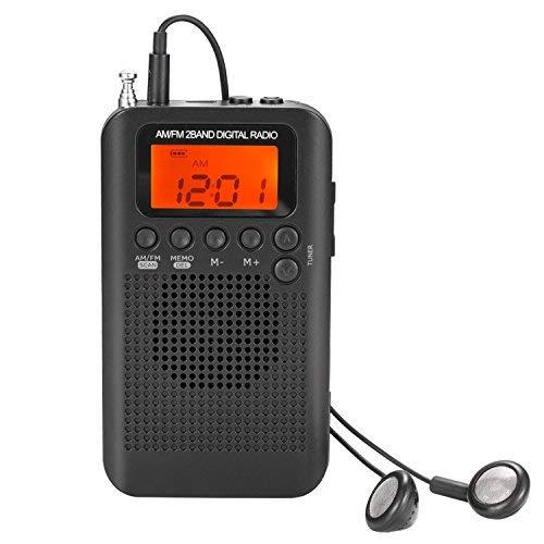 AM FM Taschenradio mit Ohrhörern Mini tragbarer Wecker Radio Digital Tuning AM/FM Stereo Personal Receiver Batteriebetrieben für Walking/Running schwarz
