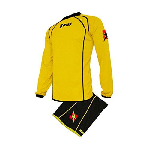 Zeus Herren Kinder Set Trikot Shirt Hosen Klein Armel Kit Fußball Hallenfußball Kit GIRES GELB SCHWARZ (L)