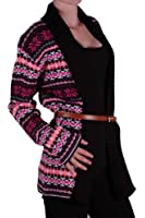 EyeCatch - Ladies Aztec Open Front Womens Belted Cardigan One Size