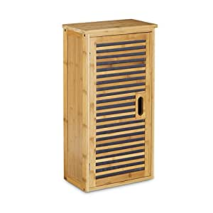 Relaxdays Bamboo Bathroom Cabinet Size 66 X 35 X 20 Cm With 2 Shelves With Storage Space For