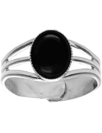 10x8mm Oval Genuine Black Onyx Cabochon Silver Plated Adjustable / Expandable Ring