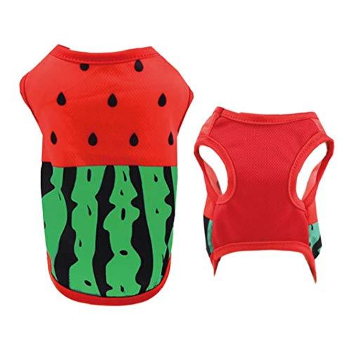 Aisoway Sommer-Haustier-Kleidung-welpen-t-Shirt-Weste Atmungsaktiv Kostüm Kostüme Wassermelone Muster Größe S -