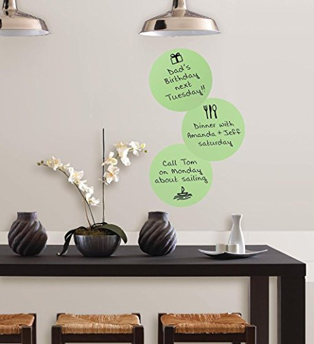 Wall Stickers, SHOBDW 3PCS Peel & Stick Calypso Self Adhesive Dry-Erase Message Dots With Marker, 3-Count 13 x 13 inch (Light Green)
