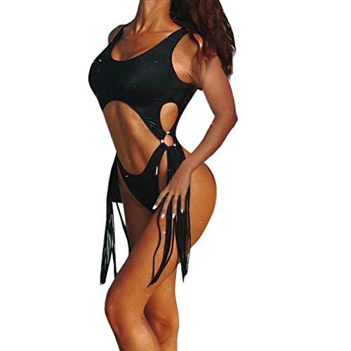 friendGG Sexy Womens Badeanzug Push-Up Gepolsterter BH Gestreifter Druck Baden Bademode Overall Einteiliger Bikini Weibliche Design Damen Siamesische Badeanzüge Damen Liner Strand Bauch