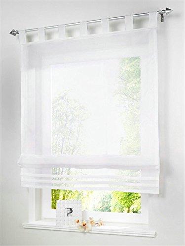 1 Stueck Raffrollo Schlaufen Gardinen Fenster-Vorhang Schal,B 120cm * H 155cm Weiss