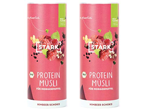 "2x STARK Bio Protein Müsli\""Himbeer Schoko\"" I Extra Crunchy, 100{3db36a34799c5313b7e56587fe48dba340c1a8847b84a7d62671cf3300f680bc} natürlich & proteinreich I Veganes Fitness Frühstück"