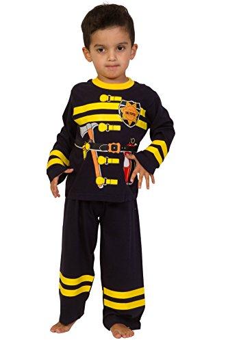 Langer Schlafanzug im Feuerwehr-Design, für 2–6Jahre Gr. 5-6 Jahre, Blau/Gelb