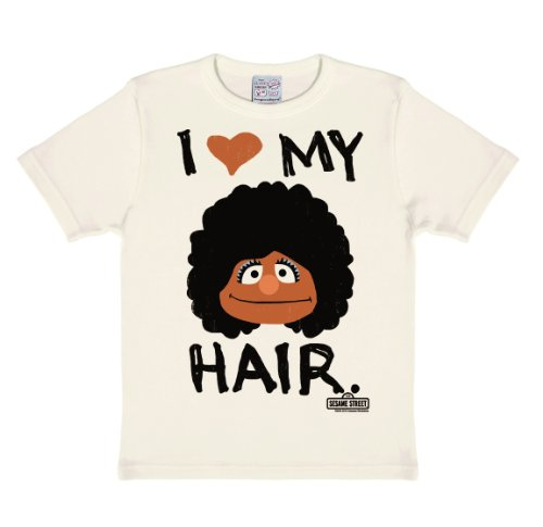 Sesamstrasse - Segi - I Love My Hair T-Shirt Kinder Mädchen - altweiß - Lizenziertes Originaldesign - LOGOSHIRT, Größe 170/176, 15-16 Jahre