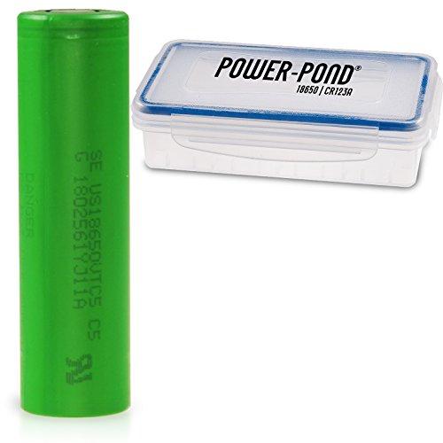 Power-Pond 1x Sony VTC5 ICR 18650 US18650VTC5 2600 mAh, 30A, Flat staubdichter und wetterfester Akkubox (Auch für überlange 18650)