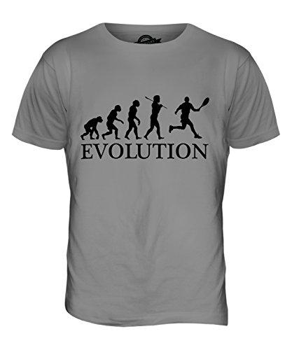 Candymix Tennis Evolution des Menschen Herren T Shirt, Größe 2X-Large, Farbe Hellgrau