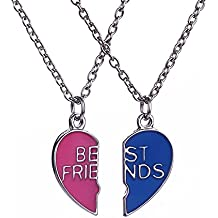 lureme® Best Friend Necklaces Corazón 2 Piece Gifts for Teen chicas 18 Inch Collar Set rojo& Azul(nl004223)
