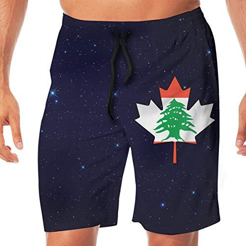 Libanon-Flagge Kanada Maple Leaf-1 Herren-Badehose für Herren Home Shorts Sporthose, Beachwear Sport Laufhose mit Taschen Größe XXL