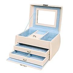 Idea Regalo - Songmics Portagioie con Cassetti e Scompartimenti Porta Gioielli Cofanetto Custodia Scatola Organizzatore JBC140F (Colore Panna)