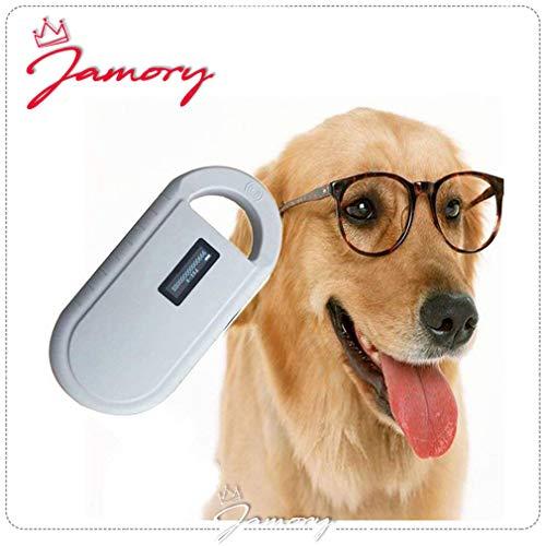 Jamory Tierchip Transponder Tierkennzeichnung Chiplesegerät USB-Ladevorgang (Weiß)