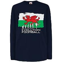 N4511D Kinder-T-Shirt mit langen Ärmeln Evolution Football - Wales