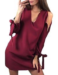 9358acea08 HaiDean Vestidos Mujer Verano Cortos Elegante Fashion Manga Larga V  Modernas Casual Cuello Sin Tirantes Bandage