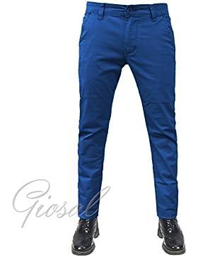 Giosal - Pantalón de hombre mod. Tasca America, origen chino, de algodón, ajustado, elástico, variedad de colores