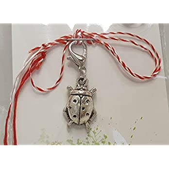 IohanaSchmuck Martisor, Charm, Anhänger als Marienkäfer aus Metall, handmade, eigene Herstellung