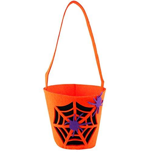 Leisial™ Halloween Kürbis Tasche Dreidimensional Netter kinder Halloween Stereo Kürbis Tasche DIY Süßigkeitsbeutel Orange Spinnennetz (Diy Spinnennetz Kostüm)