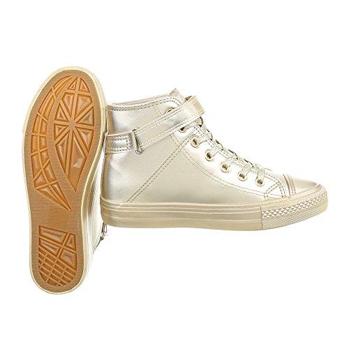 Ital-Design Scarpe da Donna Sneaker Piatto Sneakers High oro BL80
