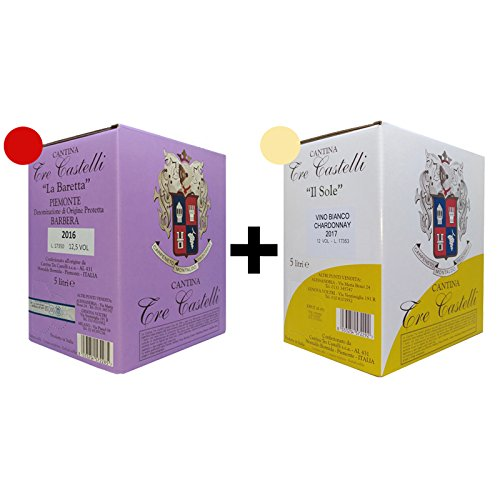2 bag in box - barbera doc 5 litri vino rosso + chardonnay 12° 5 litri vino bianco - cantina tre castelli