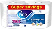 Fine, Sterilized Kitchen Towel, Mega Roll, 750 Sheets, 2 Ply - Pack of 2