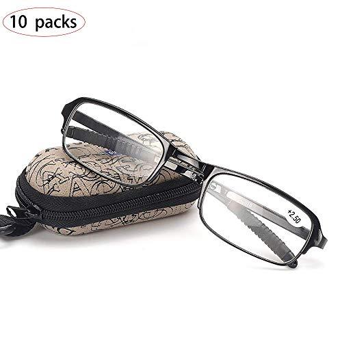 QJSY 10 Packungen Ältere Brillen entfernt Presbyopie Faltbare Brillen Lesebrille +1,0 bis + 4,0 Grad Optiker Empfehlen Reduzieren Sie die Abnahme der Sehschärfe, Pocket-Box