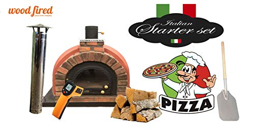 Brick Red Tudor Wood Fired Pizza Oven Double Insulation Starter Kit, Cast Iron Door, without gas burner, 140cm x 140cm