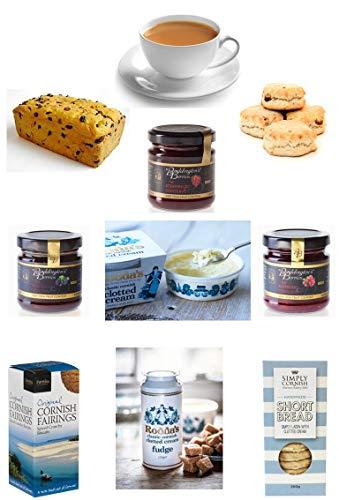 Cornish Hamper - Afternoon Cream Tea Wicker Hamper - Scones, Rodda's Cornish Clotted Cream, Conserves, Smugglers Brew Teabags, Saffron Cake, Shortbread, Fairings & Clotted Cream Fudge