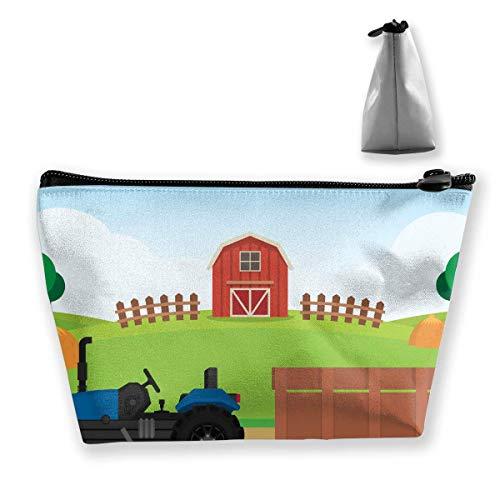 Farm Flat Landscape Illustration Women Makeup Bags Multifunktions-Kulturbeutel Organizer Travel Wash Lagerung (Trapez) Johnson Farm