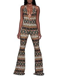519b69d4d3045c Swallowuk Damen Jumpsuit Elegant Overall Ärmellos Sommer Sexy V-Kragen  Lange Schlaghosen Playsuit Strampler (