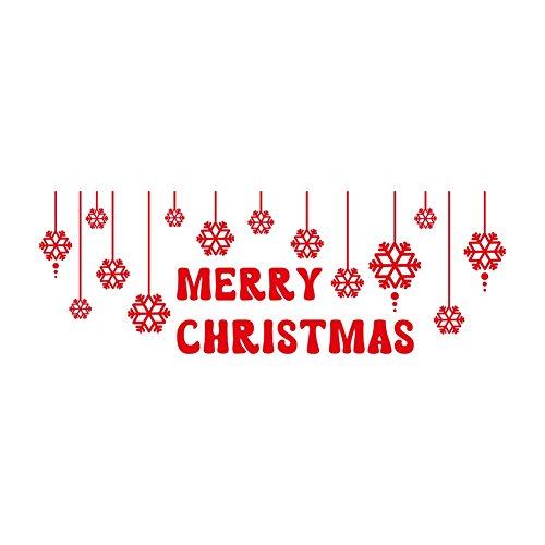 lepni.me Wandaufkleber Merry Christmas Snowflakes Stickers Christmas Decoration (Red)