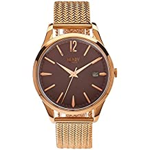 Henry London Unisex-Armbanduhr Hampstead Analog Quarz Edelstahl HL39-M-0078 (Zertifiziert und Generalüberholt)