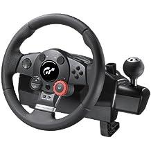 Logitech Driving F. GT - Volante de juego (rotación a 900º, 24 posiciones de ajustes, pedales de acelerador y freno, palanca de cambios, compatible con PC/PS2/PS3)