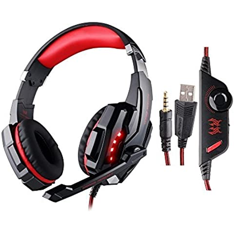 ieGeek Kotion EACH G9000 USB Estéreo Auriculares de Juego de Rey con Micrófono Control de Volumen Luz LED Para PC Juego, Headset Gaming 3.5 mm, Cancelación de Ruido Sobre-Oído, Rojo y Negro