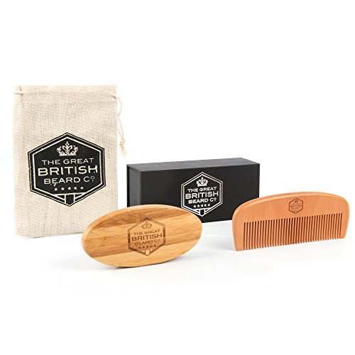Beard Comb and Brush Grooming Set for Men - Home & Travel Grooming Kit Natural Boar Bristle Brush & Wooden Comb That Adds Shine & Health to Moustache, Goatee and Beard- Perfect for Beard Balms & Oils - Great for Softening and Conditioning Itchy Beard