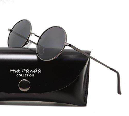 Hat Panda Polarisierte Runde Retro Vintage Sonnenbrille für Männer Frauen (47mm Braun-Schwarz)