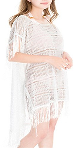 STJD Damen Strandponcho Bikini Cover Up StrandKleid Sommerkleid weiß  Langarm Spitze Stitching Bikini Badeanzug Weiß ...