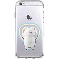 Squishy 3D Animal Gato Cat iPhone 7 Case, Cute Stress Silicone Gel Fun Kawaii Funda Carcasa Case Cover for iPhone 7 (Color-D)
